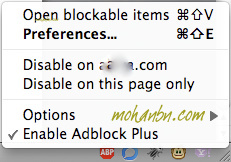 Adblock Plus Options