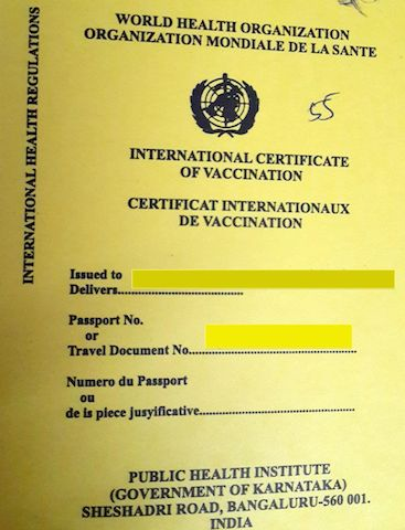International Certificate for Yellow Fever Vaccination